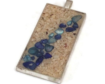 Beach Sand Pendant with Blue Shell Accents