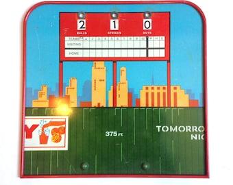 vintage game score board metal balls strikes outs