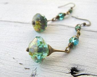 Bohemian Earring Teal Blue Drop Long Aqua Dangle Czech Glass Earring Antique Brass Jewelry Vintage Vibe Boho Chic Tribal Hippie