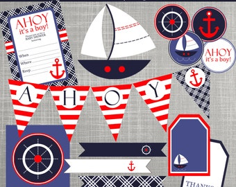 Nautical Baby Shower Decorations   Nautical Birthday Party Decorations    PRINTABLE/ DIY   Nautical Sailboats