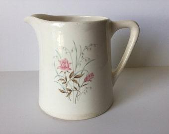 Vintage Salem China Pitcher Pink Rose Floral Pattern Design Made in USA
