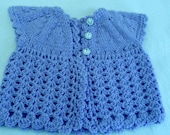 Matinee jacket Baby sweater,  Handknit/crocheted,  ALL colors. Made to Order