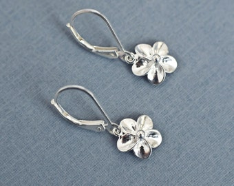 Tiny Sterling Silver Flower Earrings, Small Plumeria Earrings, Sterling Silver Flower Earrings, Floral Botanical Nature Modern Everyday Gift