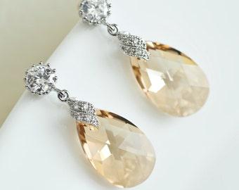 Champagne Bridal Earrings,Bridesmaids Earrings, Cubic Zirconia Large Champagne Golden Shadow Swarovski Earrings,Long Dangle Teardrop Earring