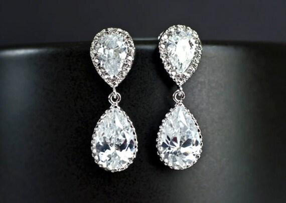 Bridal Earrings Bridesmaid Earrings Rhodium Plated Cubic Zirconia Ear Posts and Large Cubic Zirconia Teardrops