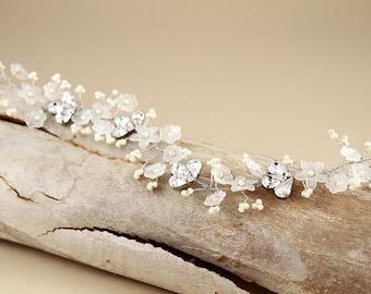 Floral Bridal Headband/ Bridal hair vine/ sparkle Crystal hair vine/ wedding halo/ Wedding hair accessories/ / bridal crown/ Tiaras
