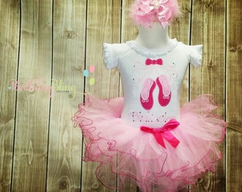 Girls Ballet Slipper Personalized Tutu Set - Matching Hair Accessory Included