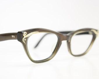 Unused Small Brown Cat Eye Glasses Cateye Frames Vintage Eyewear 1960s Eyeglasses New Old Stock