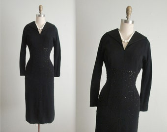 50's Studded Cocktail Dress // Vintage 1950's Studded Black Rayon Fitted Cocktail Party Wiggle Dress M