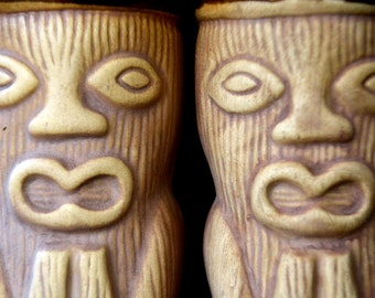 Set, Tiki Cocktail Glasses / Mugs, Unglazed Woodgrain with Frightened Face & Carved Butts in Back: Mod Bar / Lounge Pair -- Made in Japan