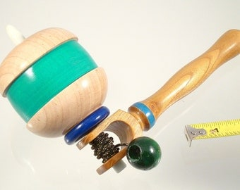 Toy top, Wood spinning top with handle. Handmade heirloom toy.