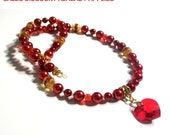 Red Heart Necklace, Candy Apple Pearl, Swarovski Crystal, Heart Necklace Set, Size Lengths Girls to Women