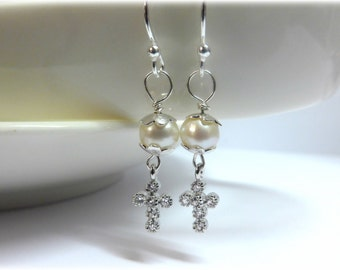 Sparkly Cross and Pearl and Sterling Silver Earrings - Freshwater Pearl, Sterling Silver and Tiny Diamante Rhinestone Cross Earrings.
