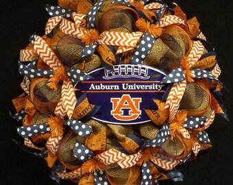 Auburn College Wreath, College Football, AU Decor, Front Door Wreath, Door Wall Decor, AU Sports Fans, College Wreaths