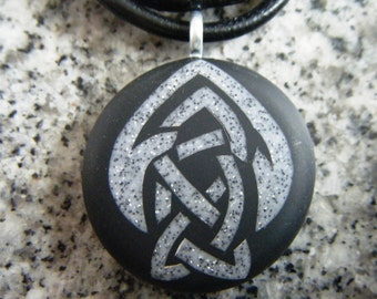 Celtic Brotherhood of the Arrow Symbol hand carved on a polymer clay Black color background. Pendant comes with a FREE necklace