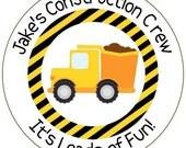 construction birthday stickers, loads of fun stickers, construction crew labels, dump truck stickers