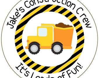construction birthday stickers, loads of fun stickers, construction crew labels, dump truck stickers