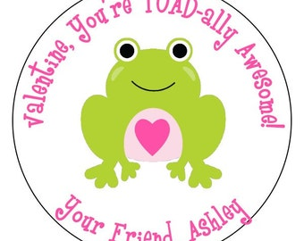 valentines frog stickers, you're toadally awesome valentine's labels, frog heart valentines stickers