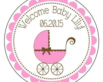 baby shower labels, baby girl stickers, pink and brown baby shower stickers, pink baby shower labels, 3 sizes available