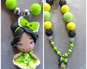 Princess and the Frog inspired chunky necklace, Tiana Disney chibi Princess necklace, Princess and the Frog birthday