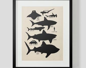 Vintage Sharks Silhouette