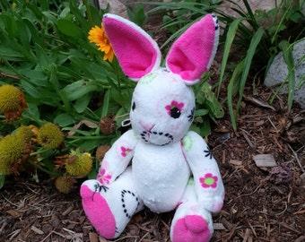 """12"""" Waldorf inspired, wool-stuffed bunny. Minky bunny. Jointed stuffed bunny"""