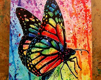 Art Print Butterfly Rainbow Pop Art Splatter Portrait Colorful Bright Edgy Nature Decor 5x7, 8x10, or 11x14
