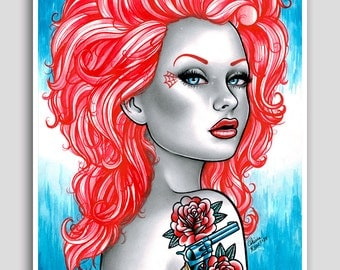 She Wants Revenge 18x24 inch Poster - Signed Art Print - Pretty Red Head Tattooed Pin Up Girl - Lowbrow Traditional Tattoo Pinup