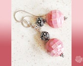 """Hooks, Pink Inlaid Mother-of-Pearl Tiled 1"""" Balls, TierraCast Fancy Pewter Spacers, Earrings, Sterling Silver Ear Wires, Pink and Gray"""