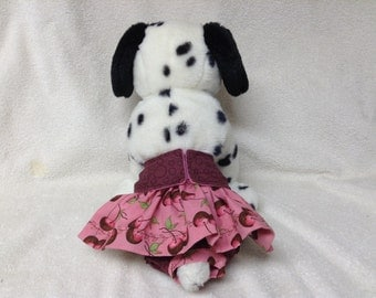 Female Dog Diaper Britches Panties Doggie Pet Wrap Pants Skirt Size XSmall To XLarge Cherries Fabric