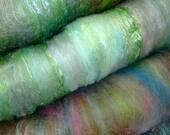 Wool SPINNING Art batt felting nuno felt Silk  BFL  Pastels 1 oz