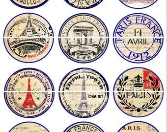 "Paris Postmarks Magnets, Paris Postmarks Pins, Vintage Postmarks, Wedding Favors, 1"" Flat Back Buttons, Pins, or Magnets 12 ct., Cabachon"