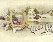 Vintage New Year's Good Luck Postcard Gold Horseshoe Flowers and Snow Covered Cottage 1921