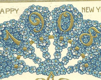 Antique New Years Postcard 1908 Fan of Forget-Me-Nots 1907 Beautifully Embossed Blue and Gold Vintage Post Card