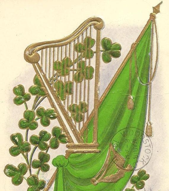 st patricks day vintage postcard green flag golden harp. Black Bedroom Furniture Sets. Home Design Ideas