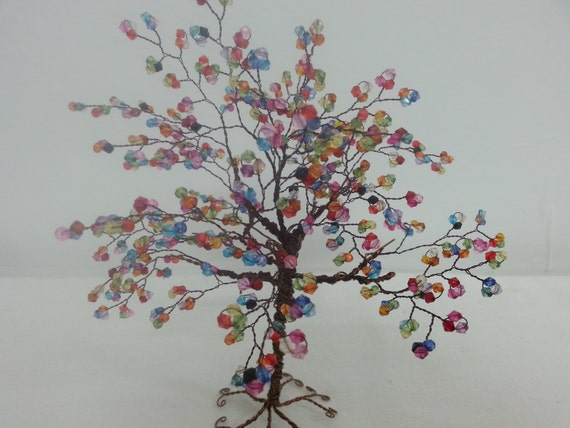 ... Baum-Skulptur mit bunten Acryl-Perlen, Bonsai Baum, Feng-Shui-Baum auf
