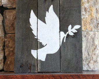 Dove of Peace Reclaimed Wood Sign
