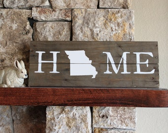 Missouri HOME Sign, Reclaimed Wood Sign, MO Home Sign, Missouri Artwork, Rustic Missouri Sign, Wooden Missouri, Wood Missouri Sign, MO Gift