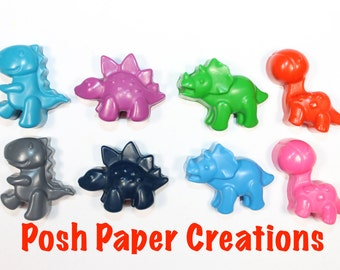 5 set of 4 Dino crayons - assorted colors - in cello bag with ribbon