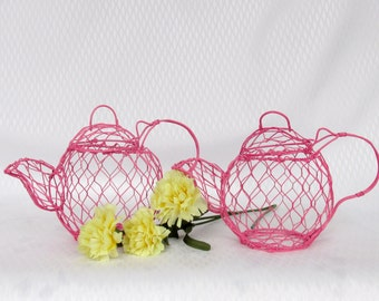 Wire Mesh 2 Small Teapot Shabby Chic Decor Hot Pink  Table Decor