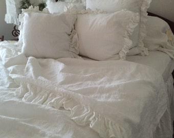 Ruffled Linen Queen Flat Sheet