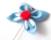 Butterfly Lapel Pin Red White and Blue Kanzashi Boutonniere Fine Gift