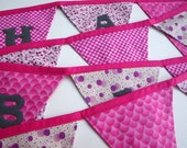 Happy Birthday Fabric Banner - Girly Pinks with Dark Gray Lettering