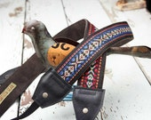 NEW Tribal Style Camera Straps Leather and Suede Camera Strap - Jimi Hendrix Style Red or Blue