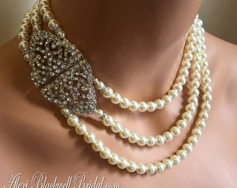 Bridal Pearl Necklace Set with Art Deco Rhinestone clasp Elegant Great Gatsby Bridal Wedding Formal jewelry Ivory or your choice of color