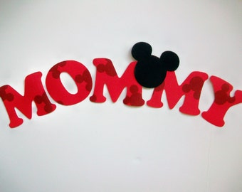 MOMMY - DIY No-Sew - Minnie/Mickey Mouse Applique - Iron On