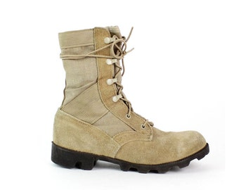 Ro-Search Desert Boots 8.5 Women | 6 Men | Tan Suede Lace Up Military Boots