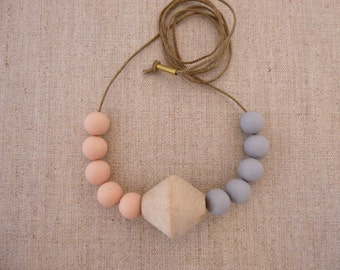 Bicone Wooden Bead Necklace with 2 Tone Beads SALE