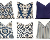 Navy Blue Pillow Covers, Navy Pillows, Decorative Throw Pillow Cover, 20 x 20, Navy Taupe Aqua on Linen Cushion, Sofa Pillows, Indigo Blue
