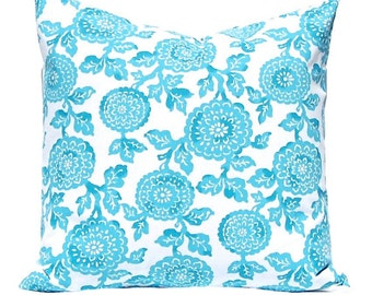 Turquoise Pillow Covers, Decorative Throw Pillow Cover, Turquoise Cushion Covers Mums One All Sizes Floral Pillow Blue Pillow